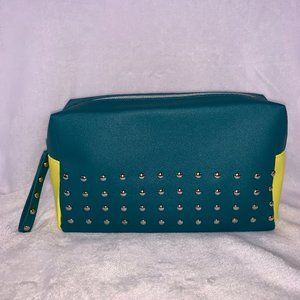 NWOT Green Studded Faux Leather Makeup Bag